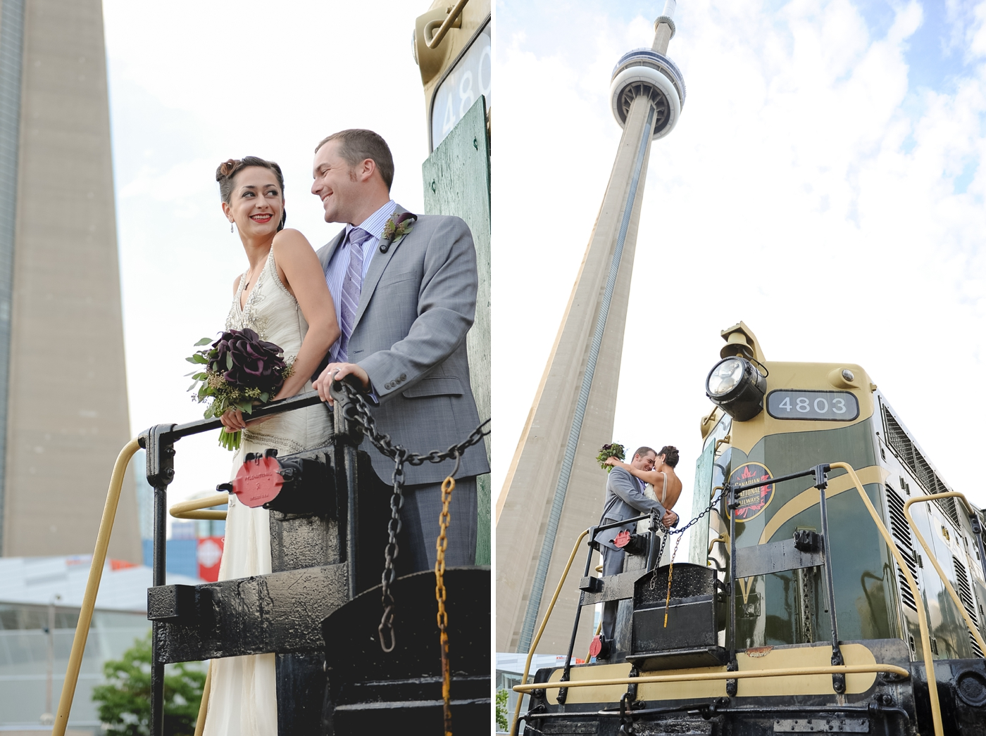steampunk wedding cn tower wedding photo