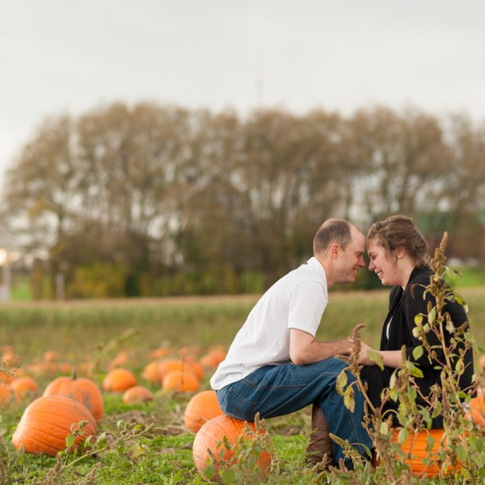 Erica + Charles | Pumpkin Farm Engagement | Courtice