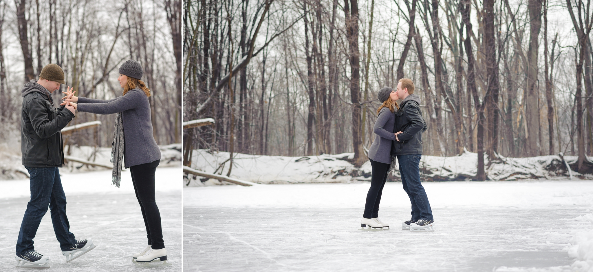 Durham Region Winter Engagement Ice skating engagement