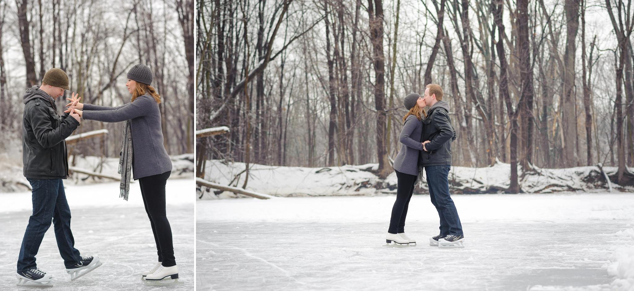 Durham Region Winter Engagement Ice skating engagement