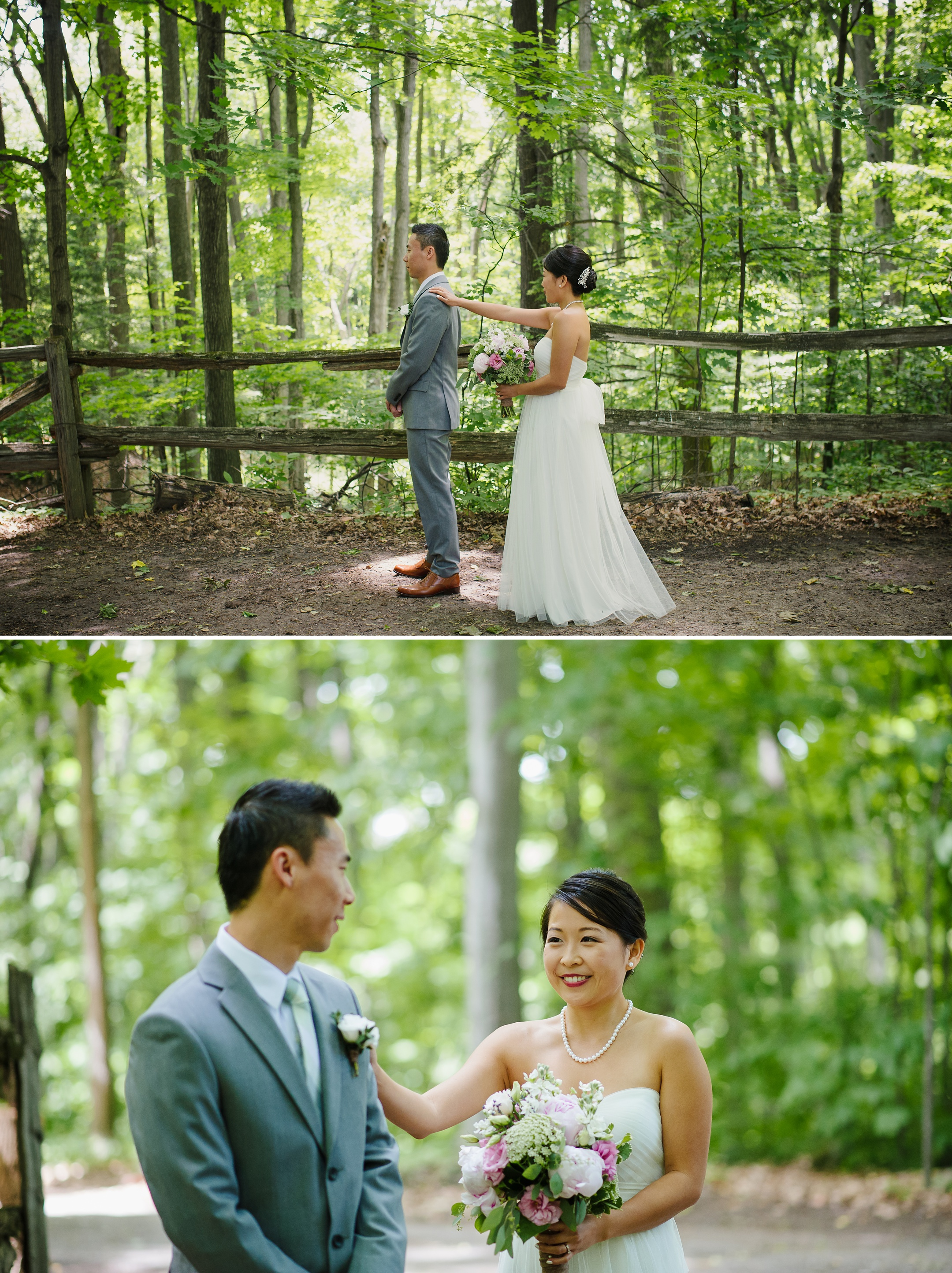 Kortright Centre first look bride and groom