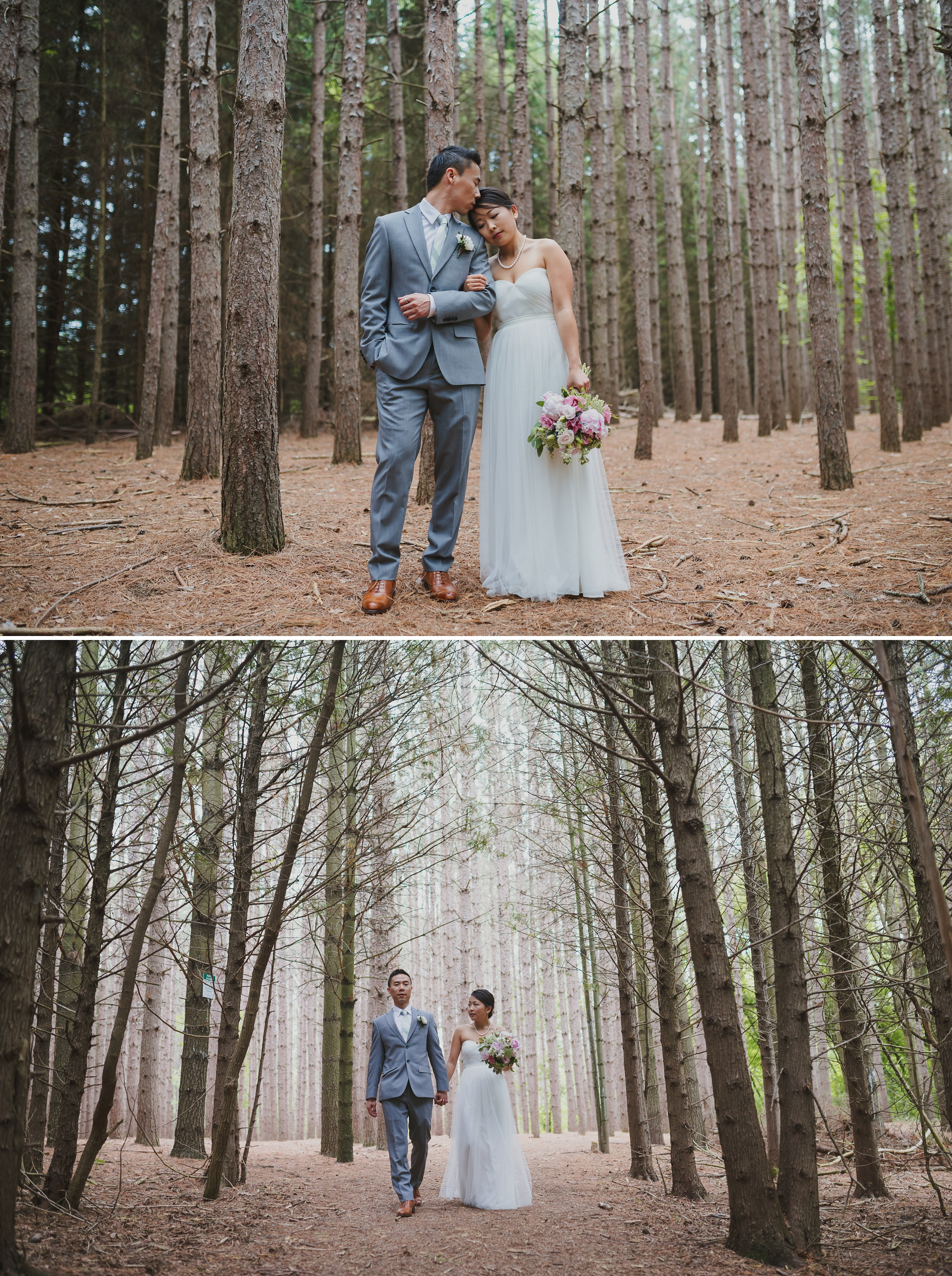 Kortright Forest Wedding Bride and Groom Tall Pines