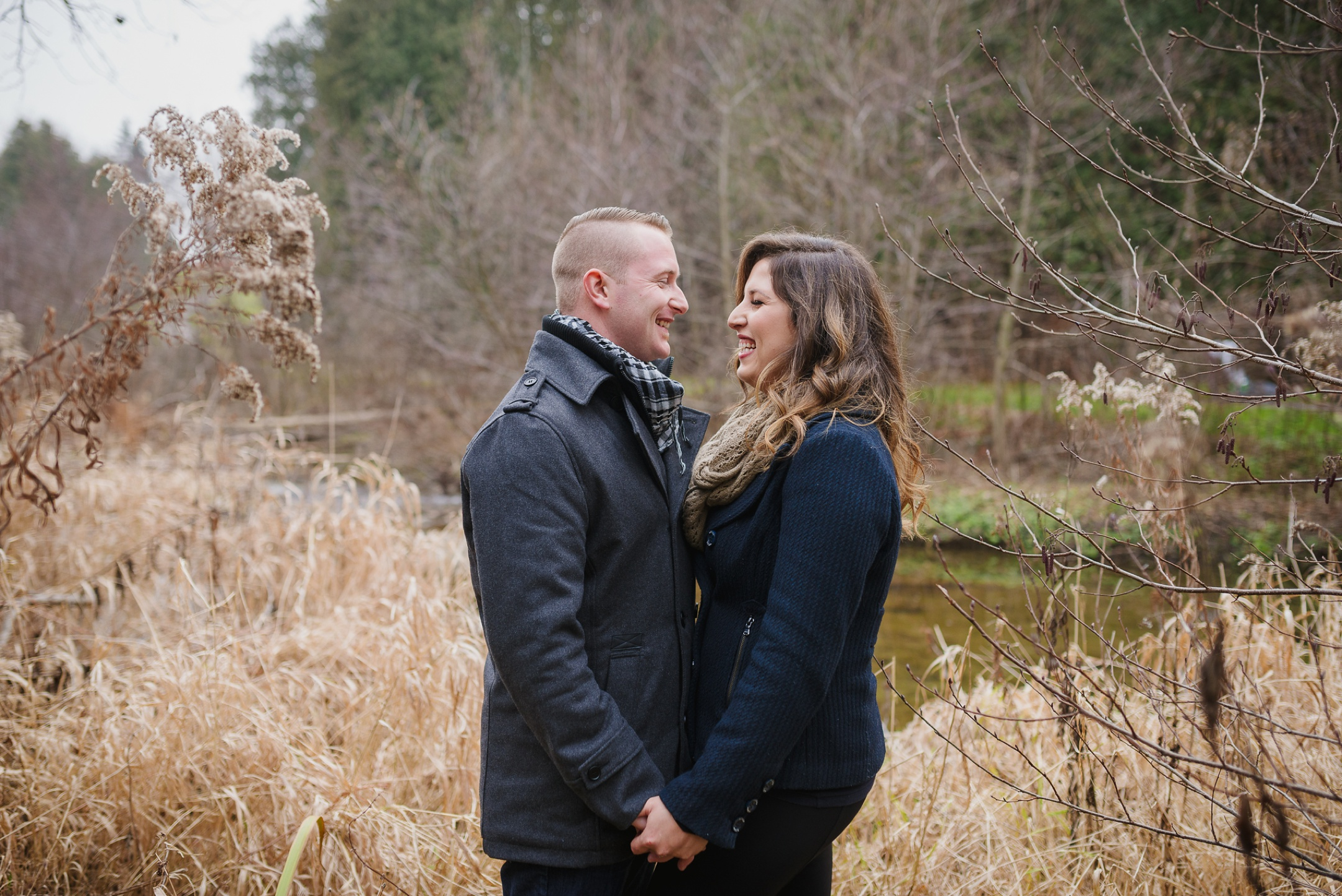 Whitby Fall Engagement Session in the woods