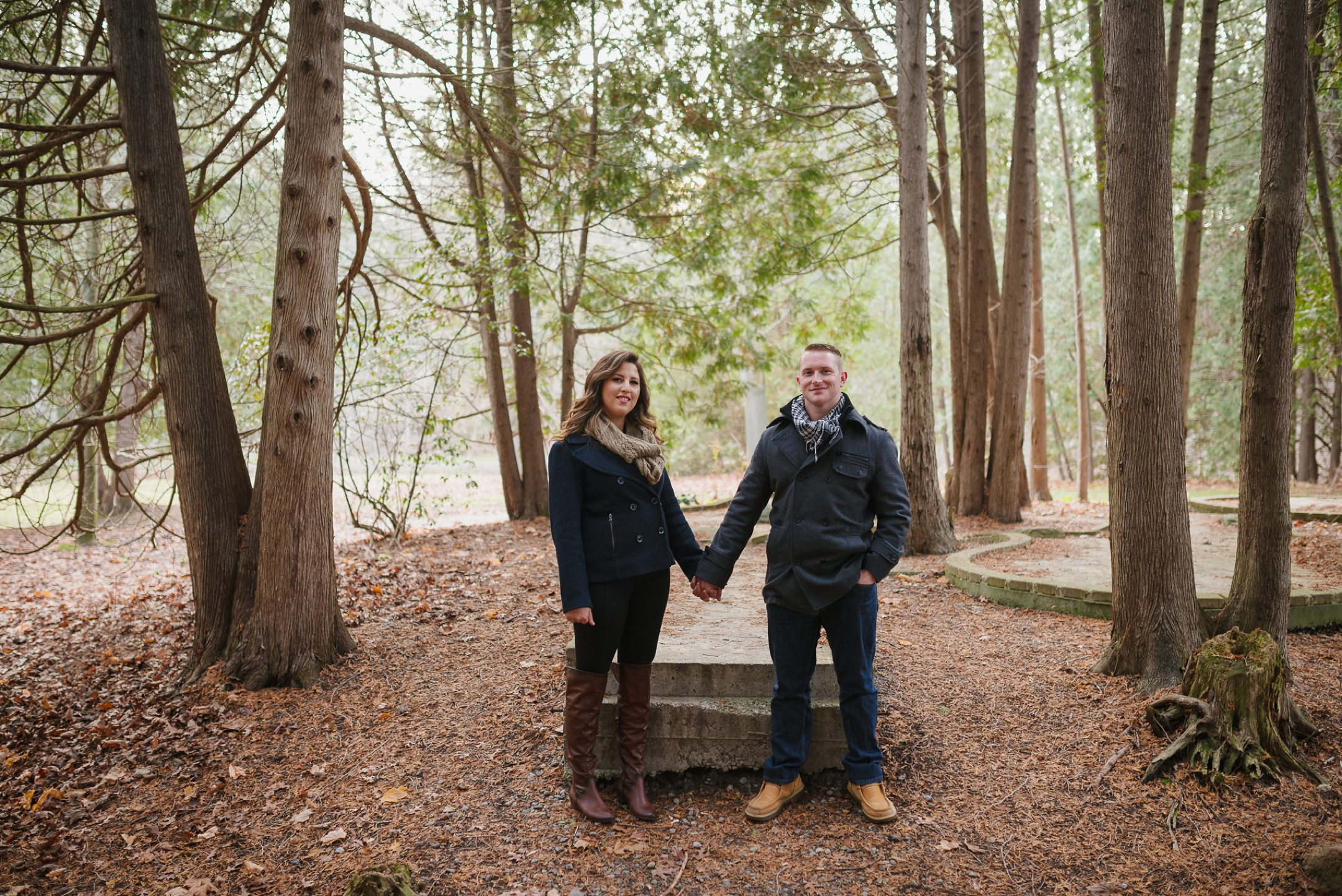 Durham Region, Cullen Gardens Whitby Engagement Session in the woods
