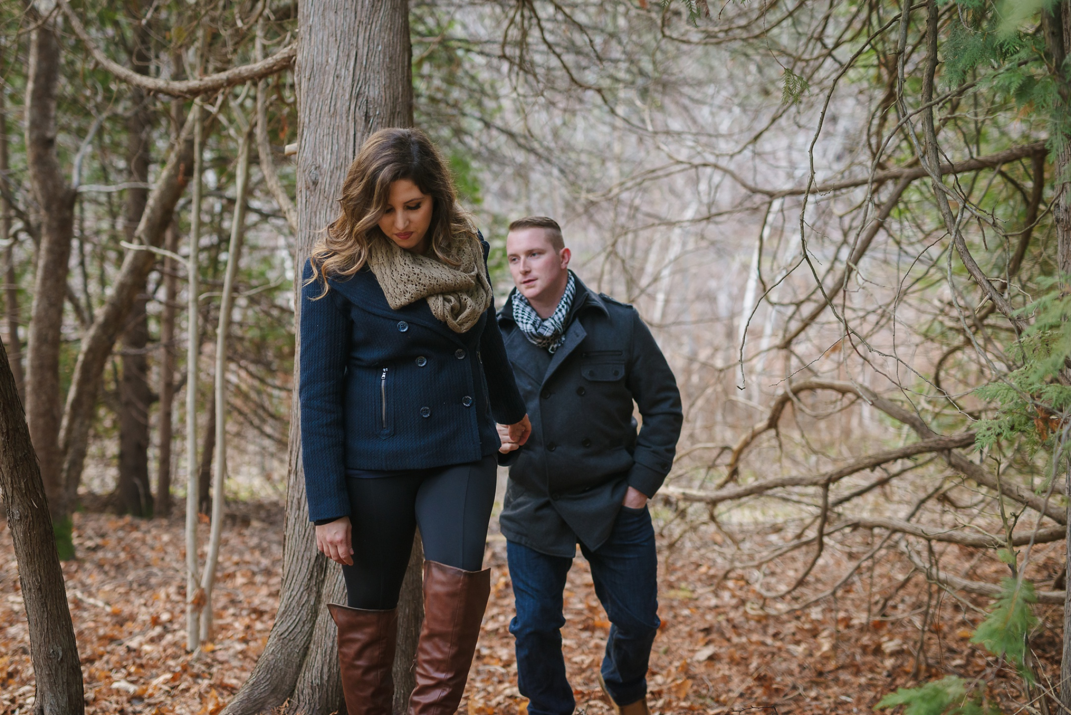 Durham Region, Whitby Engagement Session in the woods, couple walking together
