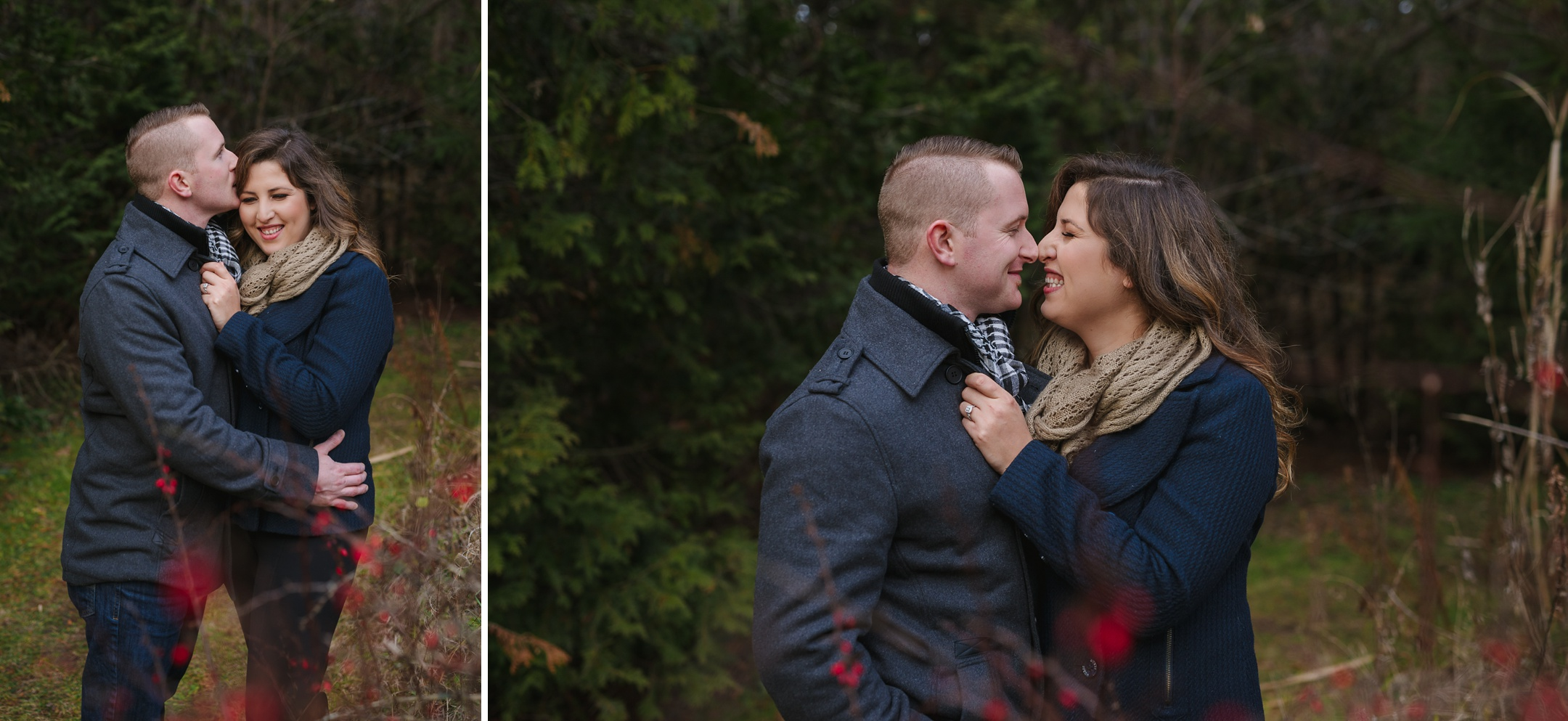 Durham Region, Whitby Engagement Session in the woods, cute couple in the forest