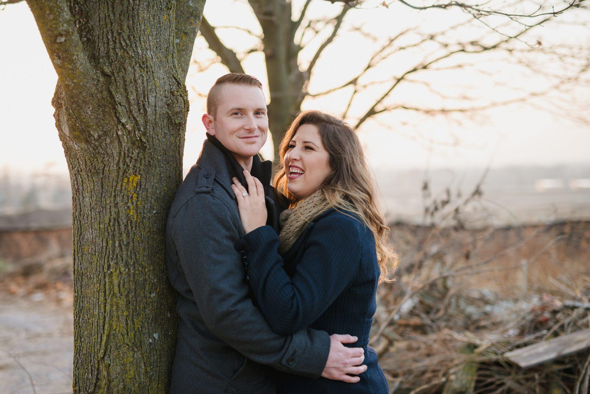 Durham Region Engagement Session, couple at sunset