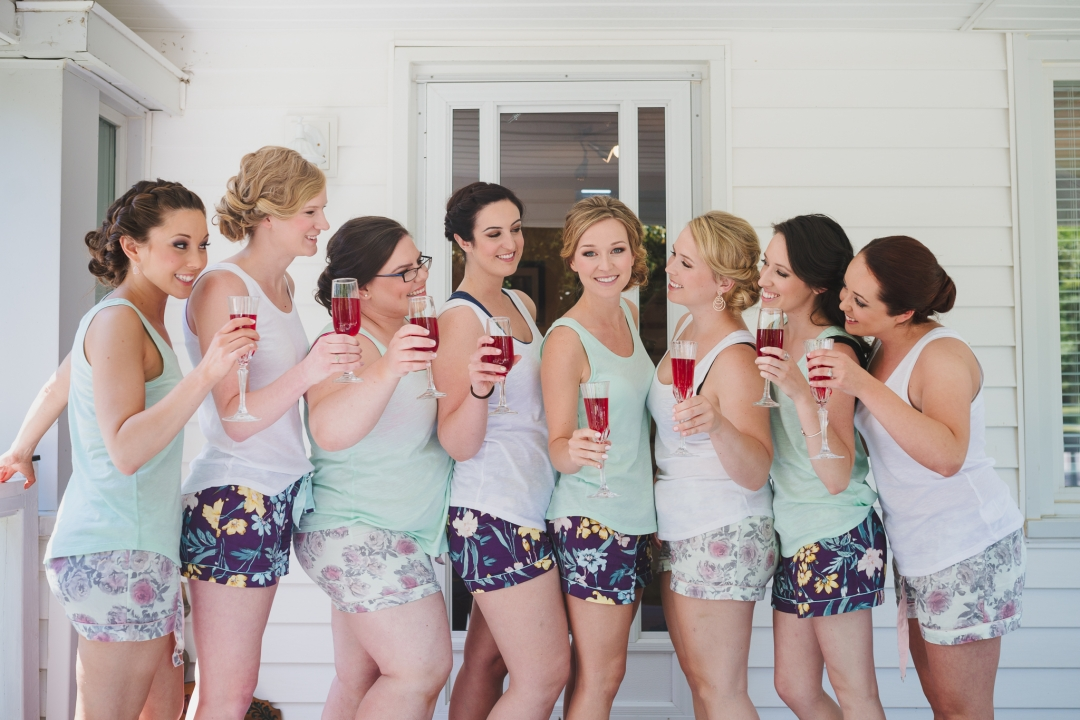 Cobourg Ontario yard wedding bridesmaids, Durham Region Wedding Photographer