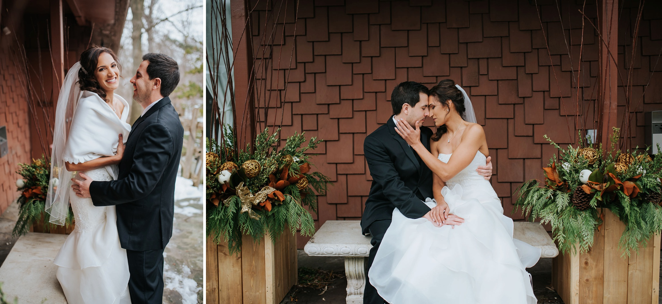 bride and groom winter wedding at fantasy farm toronto