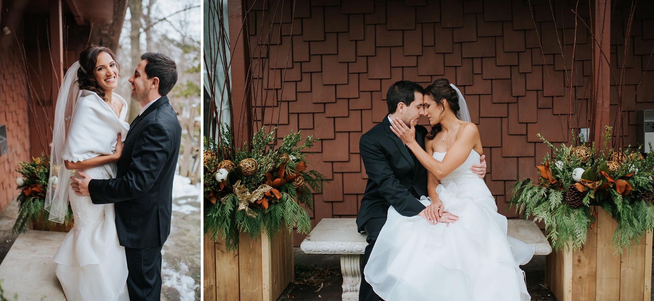 bride and groom winter wedding at fantasy farm toronto