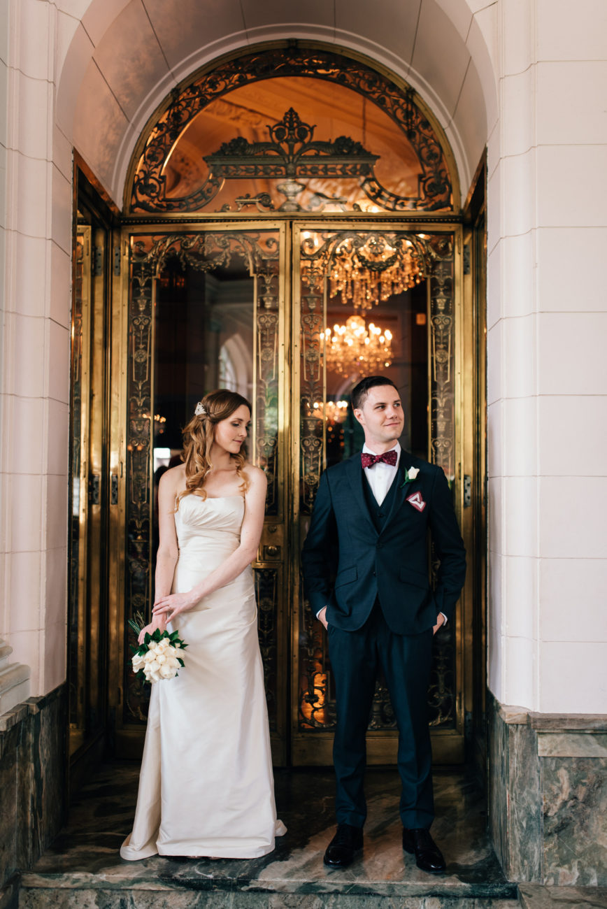 Casa Loma Wedding bride and groom in the conservatory