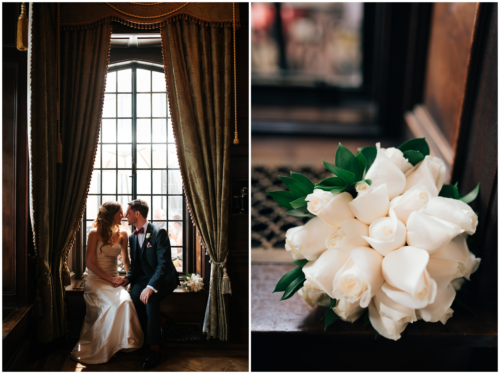 Casa Loma Wedding Toronto. Bride and groom in the library.