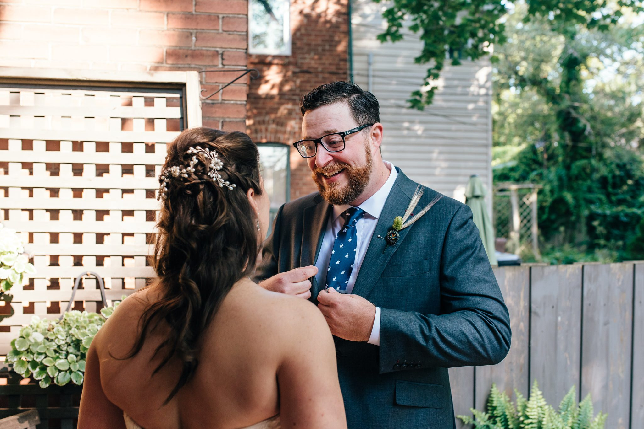 Bride and grooms first look reactions before their Vintage Toronto Streetcar Wedding