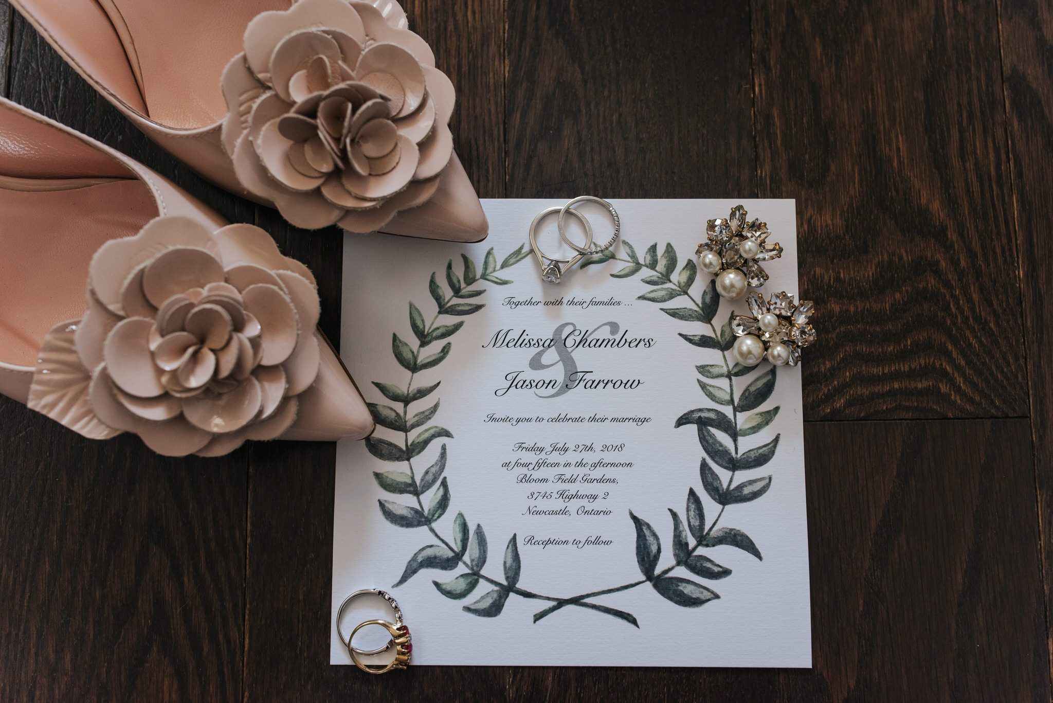 Bloomfield Gardens Wedding - shoes jewelry and invite details