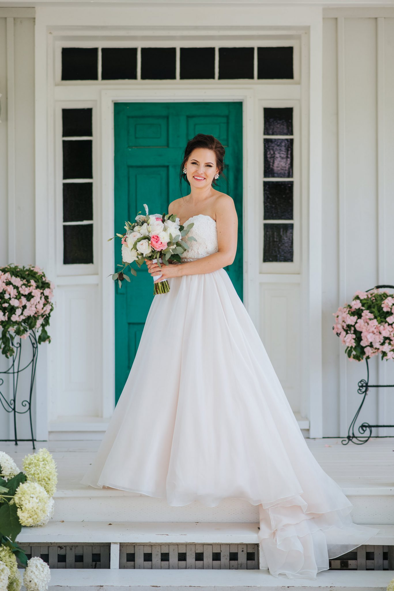 Bloomfield Gardens Wedding - bride in teal doorway