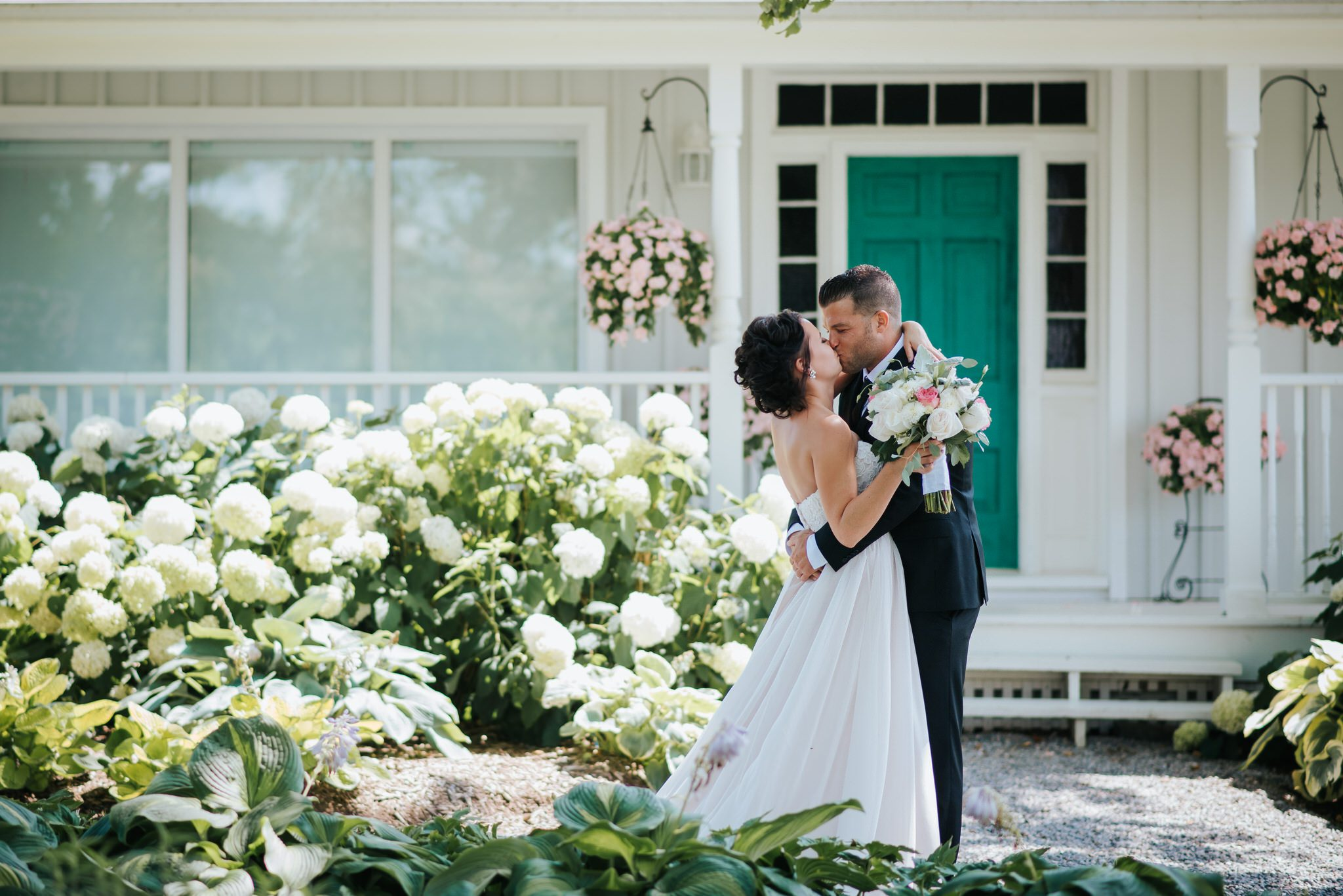 Bloomfield Gardens Wedding - first look kiss