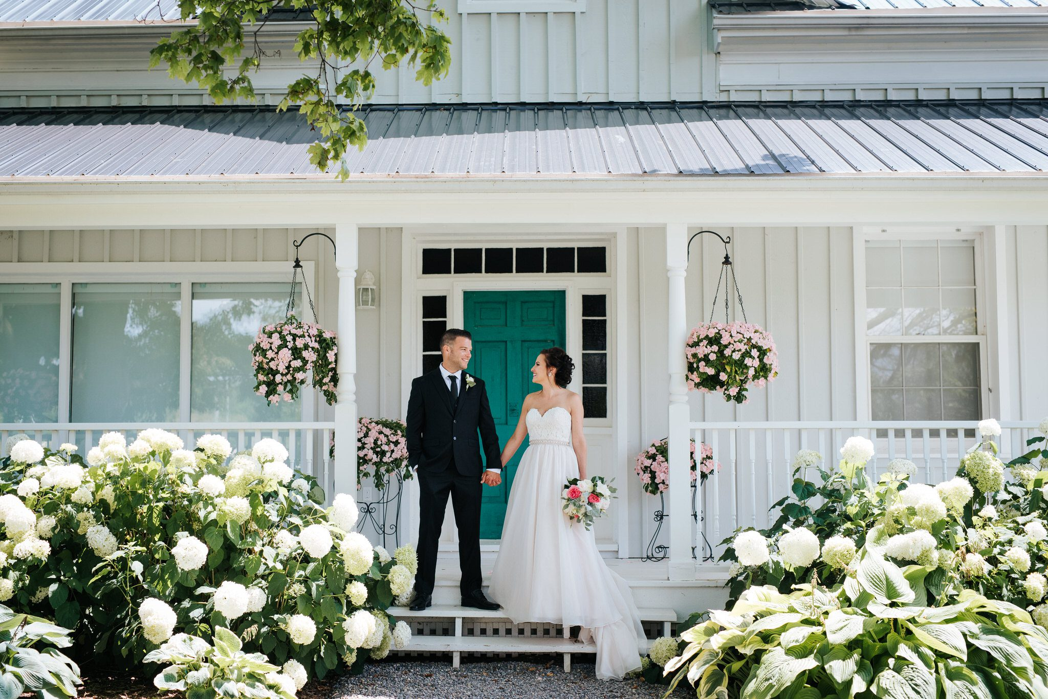 Bloomfield Gardens Wedding - bridal portraits white house teal door