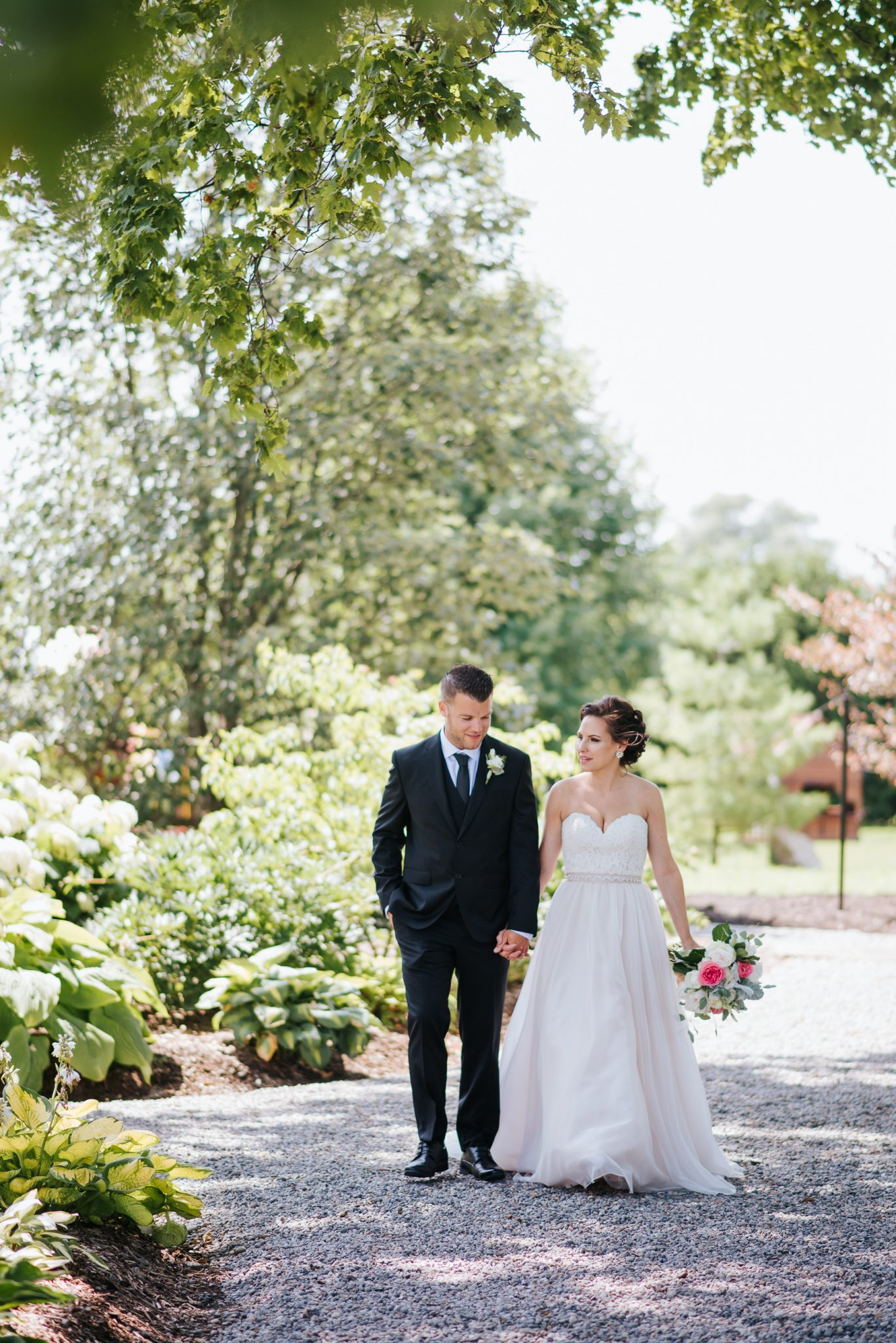 Bloomfield Gardens Wedding - bride and groom on garden path