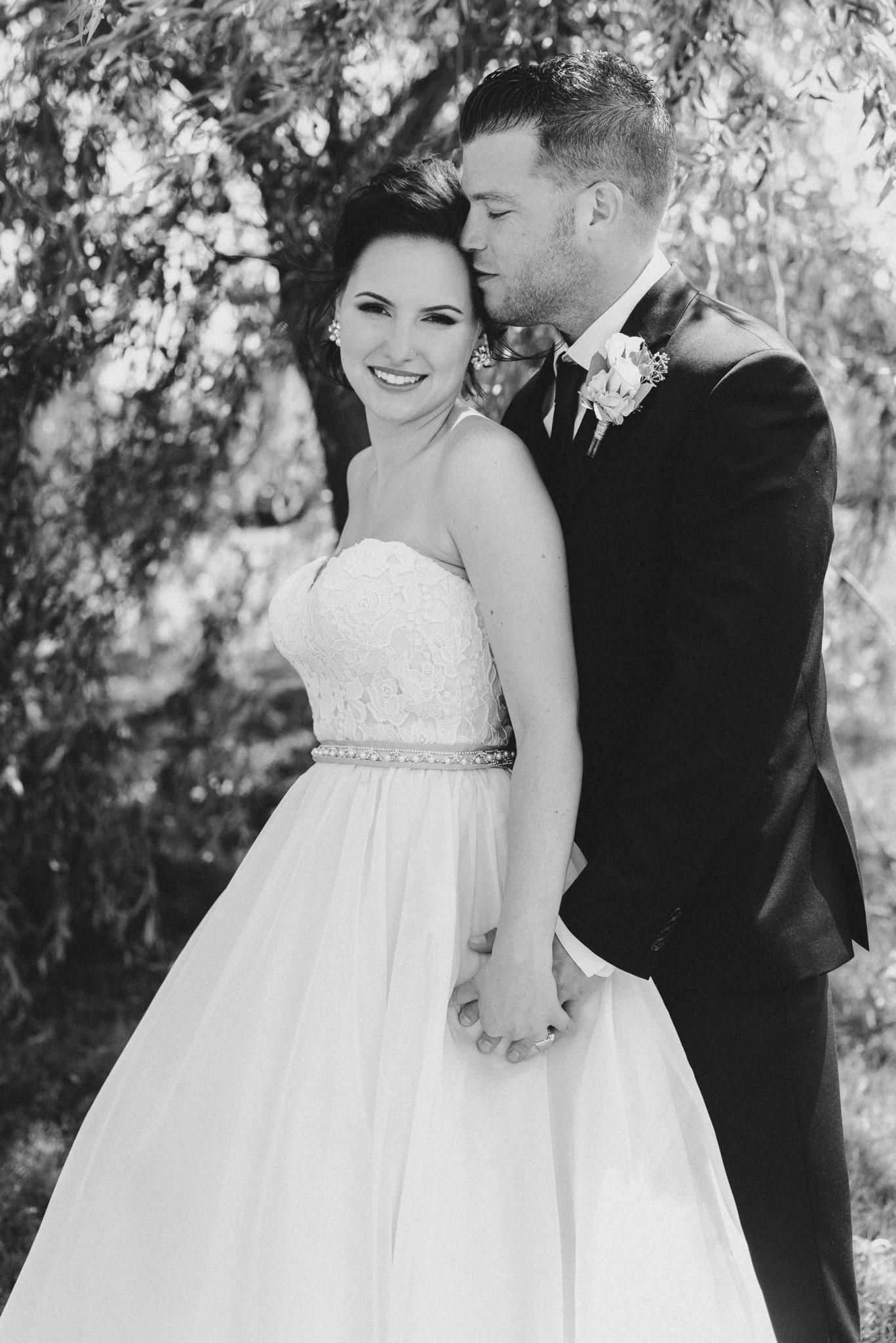 Bloomfield Gardens Wedding - black and white portrait under tree