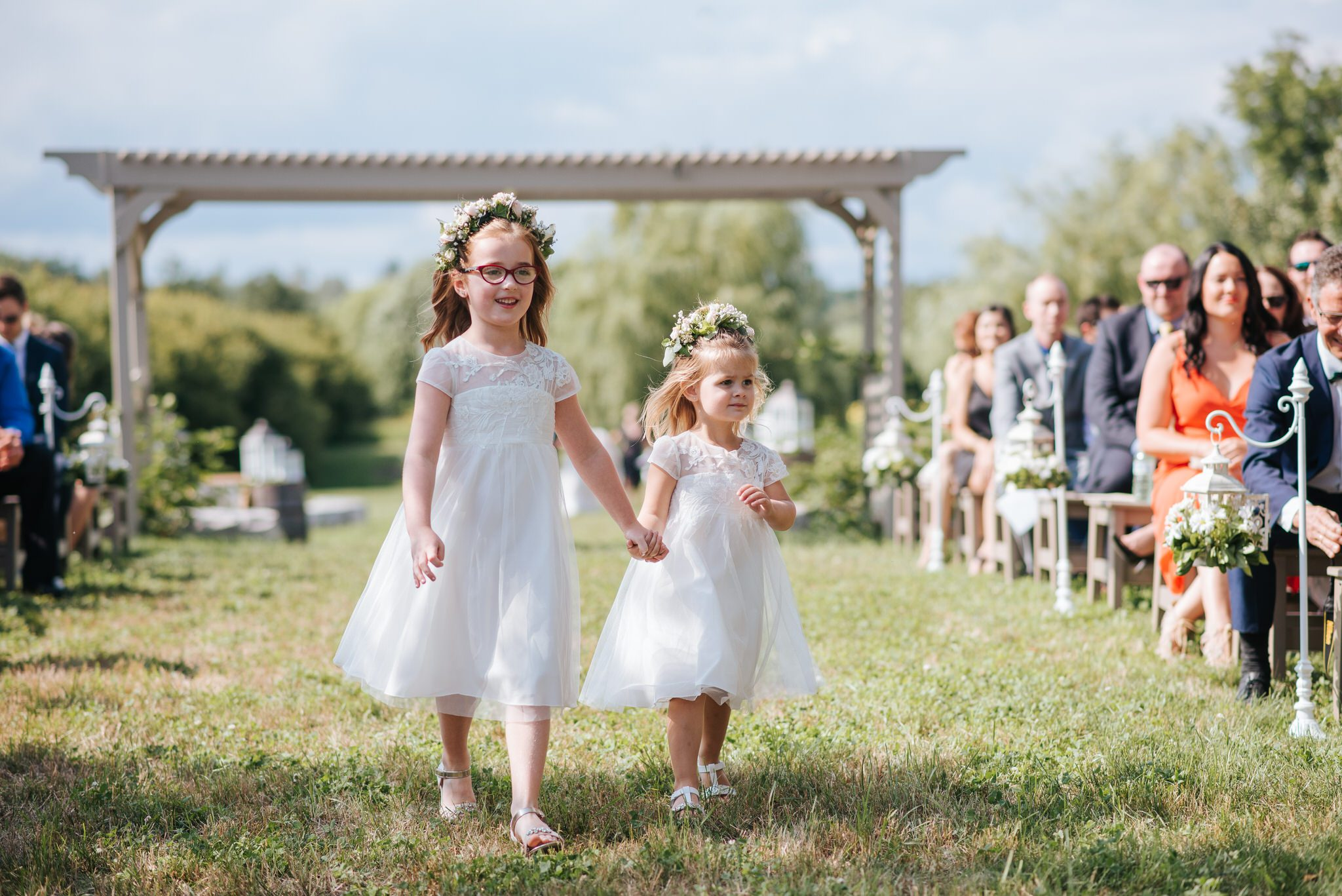 Bloomfield Gardens Wedding - flower girls walk the aisle
