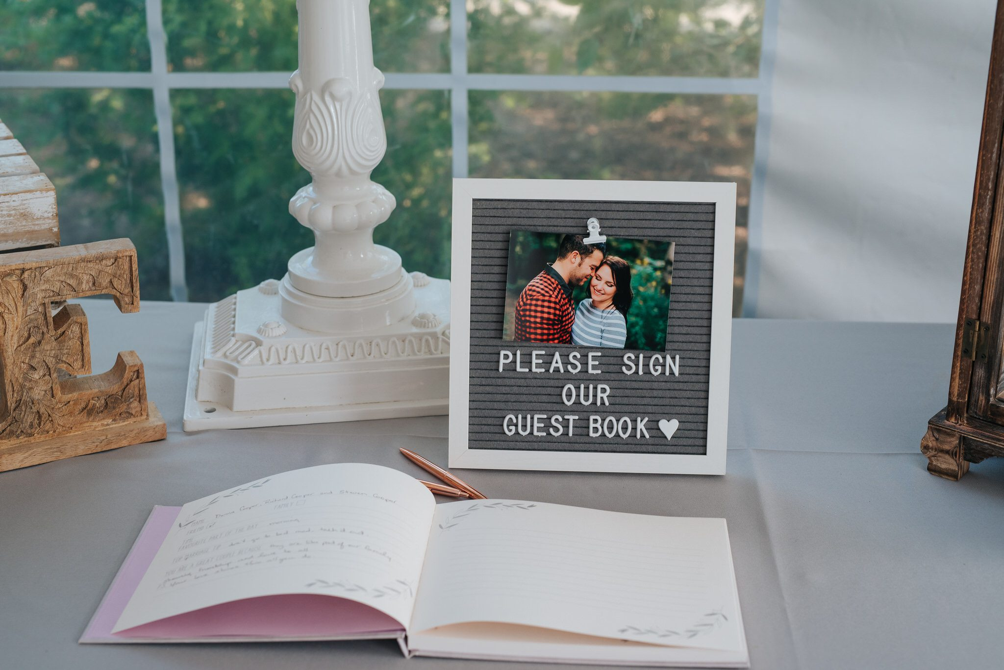 Bloomfield Gardens Wedding - guest book