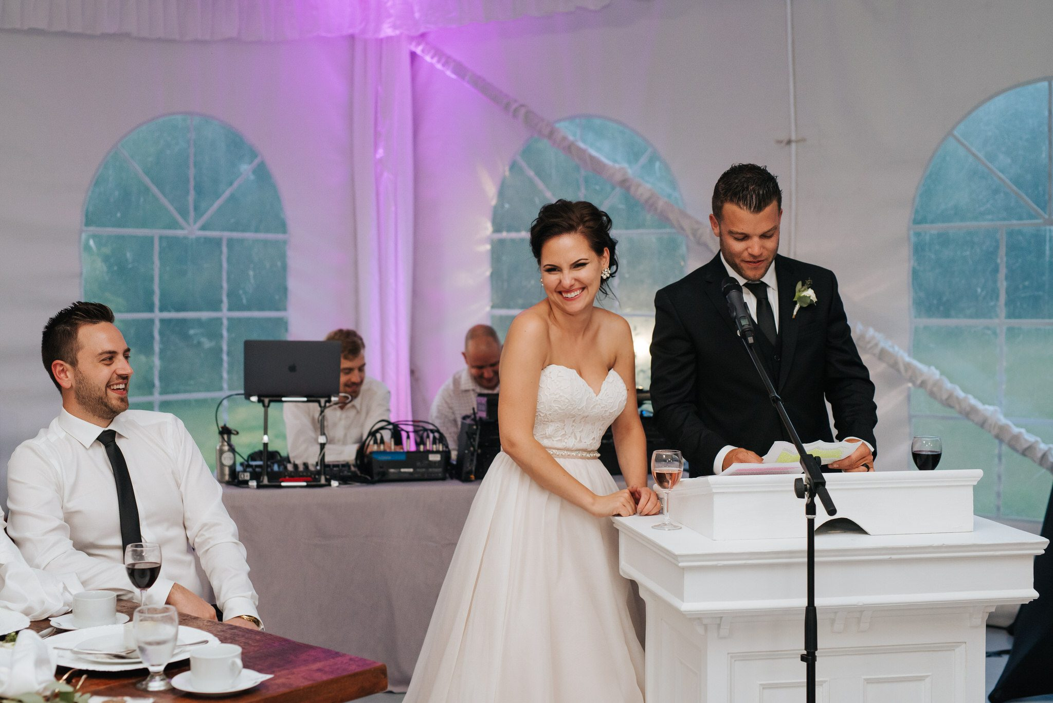 Bloomfield Gardens Wedding - bride and groom speech