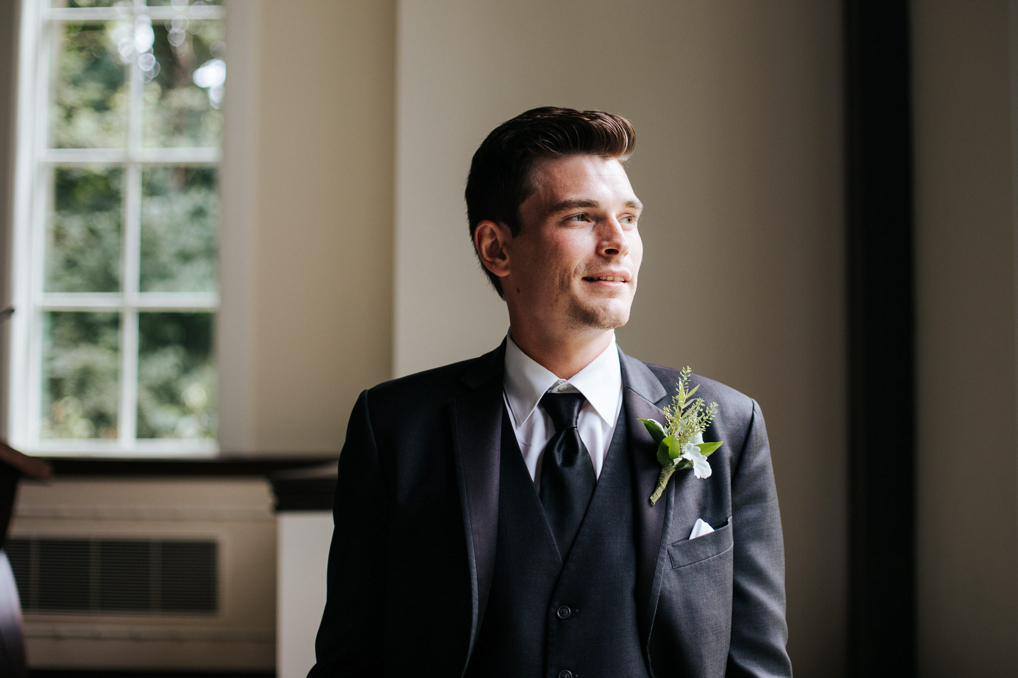 Ancaster Mill Wedding - groom at alter