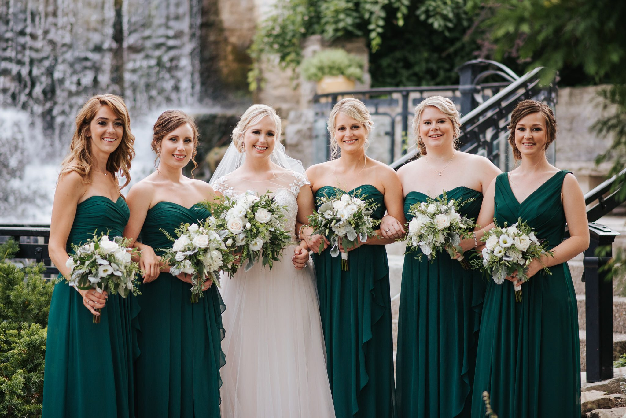 Ancaster Mill Wedding - bridal party at waterfall