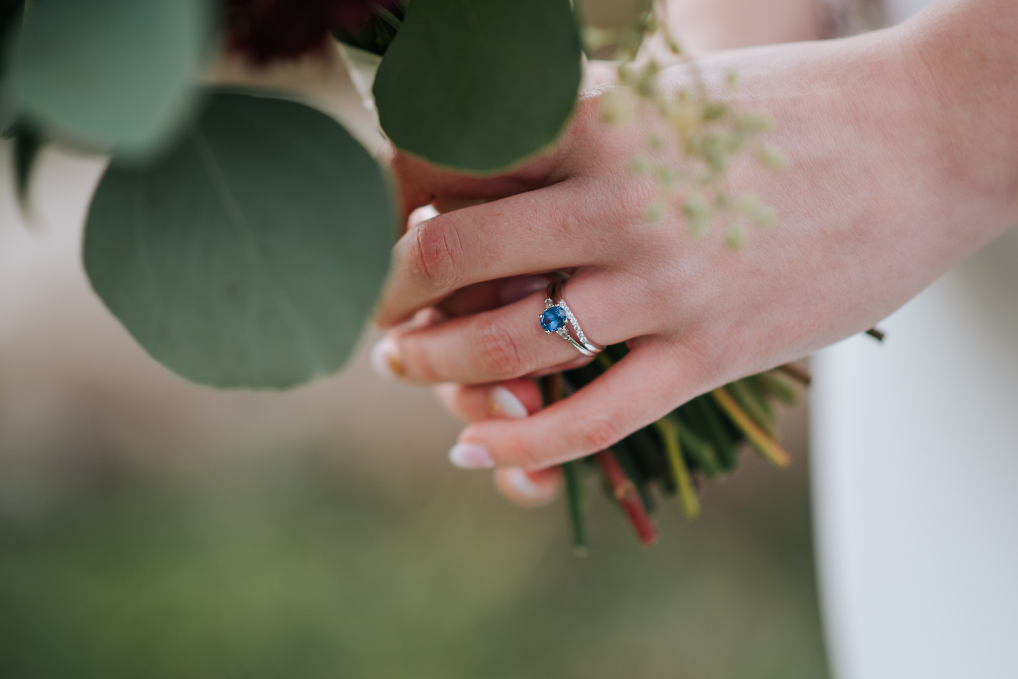 Waterstone Estate & Farms Wedding - blue wedding ring