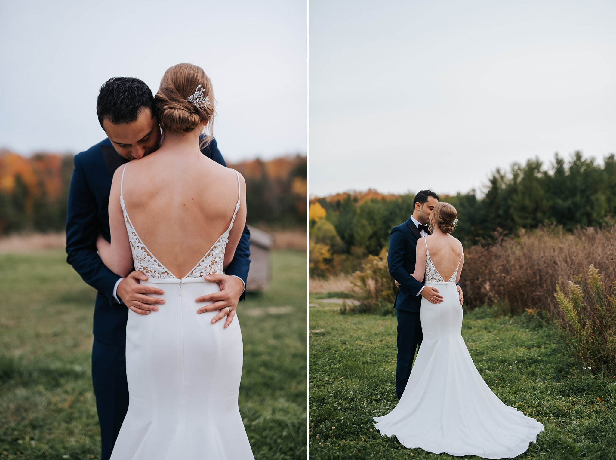 Waterstone Estate & Farms Wedding - bride and groom embrace