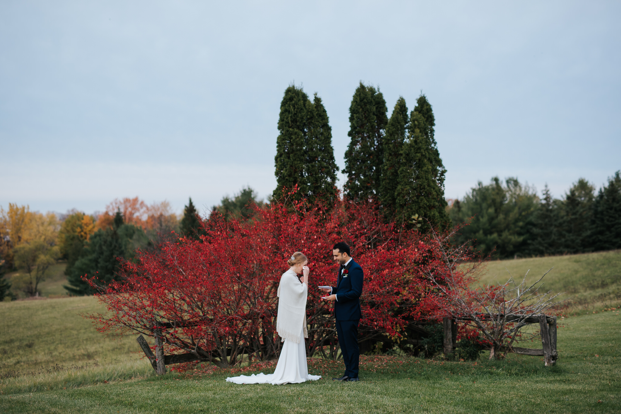 Waterstone Estate & Farms Wedding - fall wedding red trees