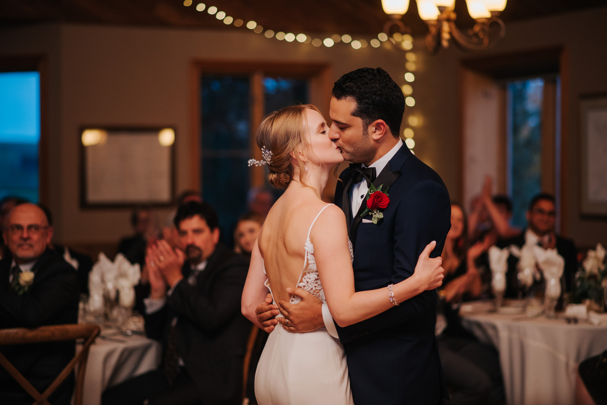 Waterstone Estate & Farms Wedding - first dance kiss