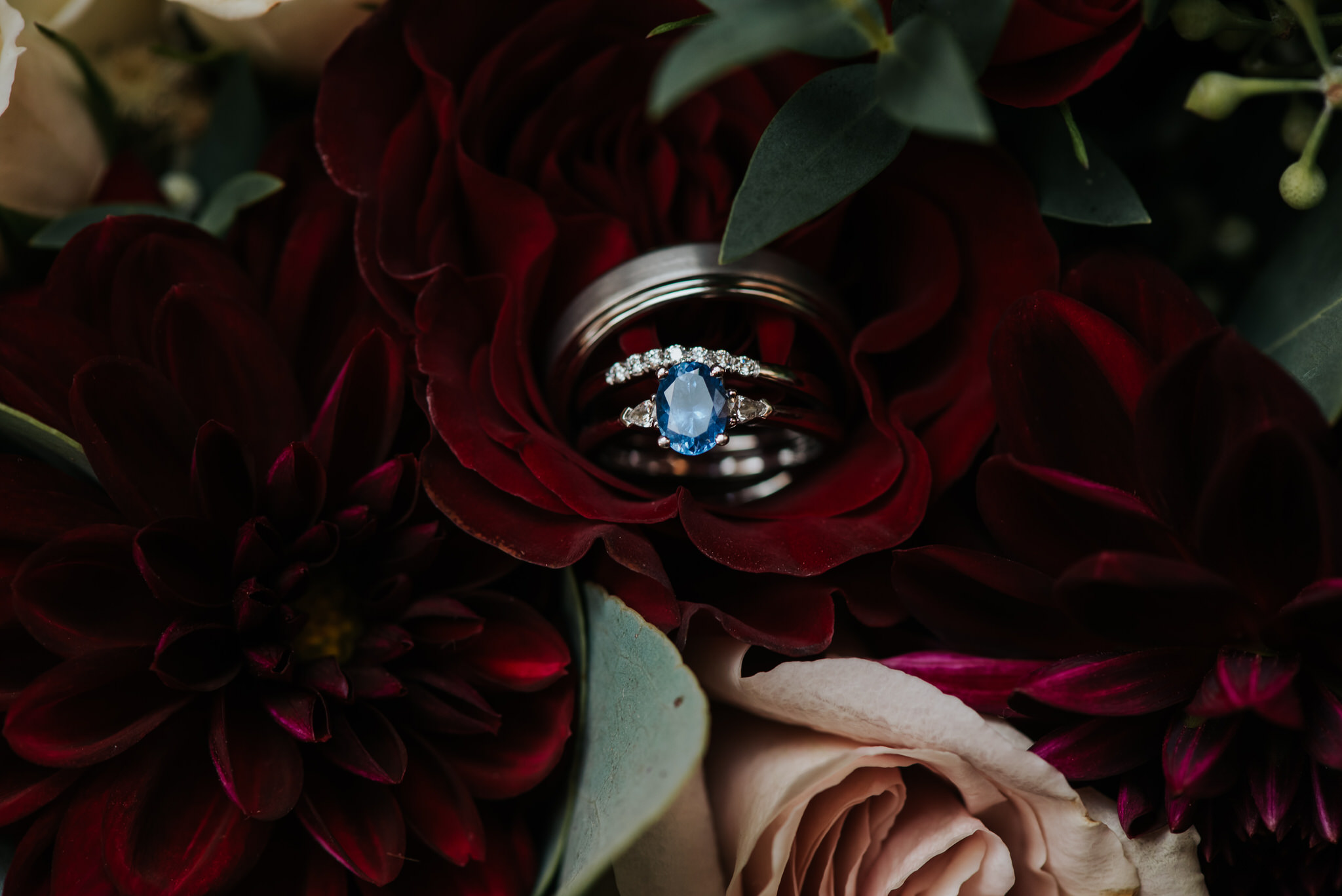 Waterstone Estate & Farms Wedding - Blue Wedding Ring in Roses