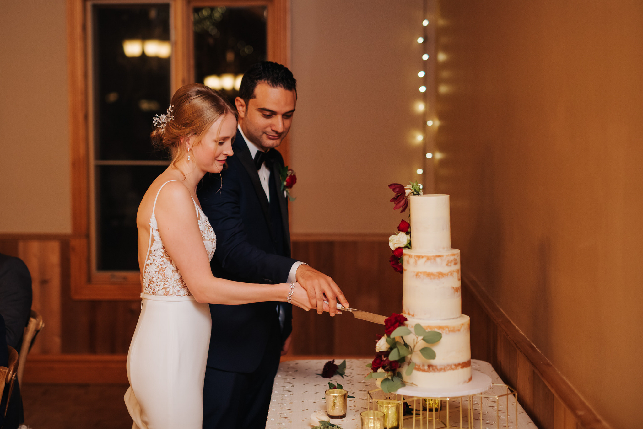Waterstone Estate & Farms Wedding - cutting the cake