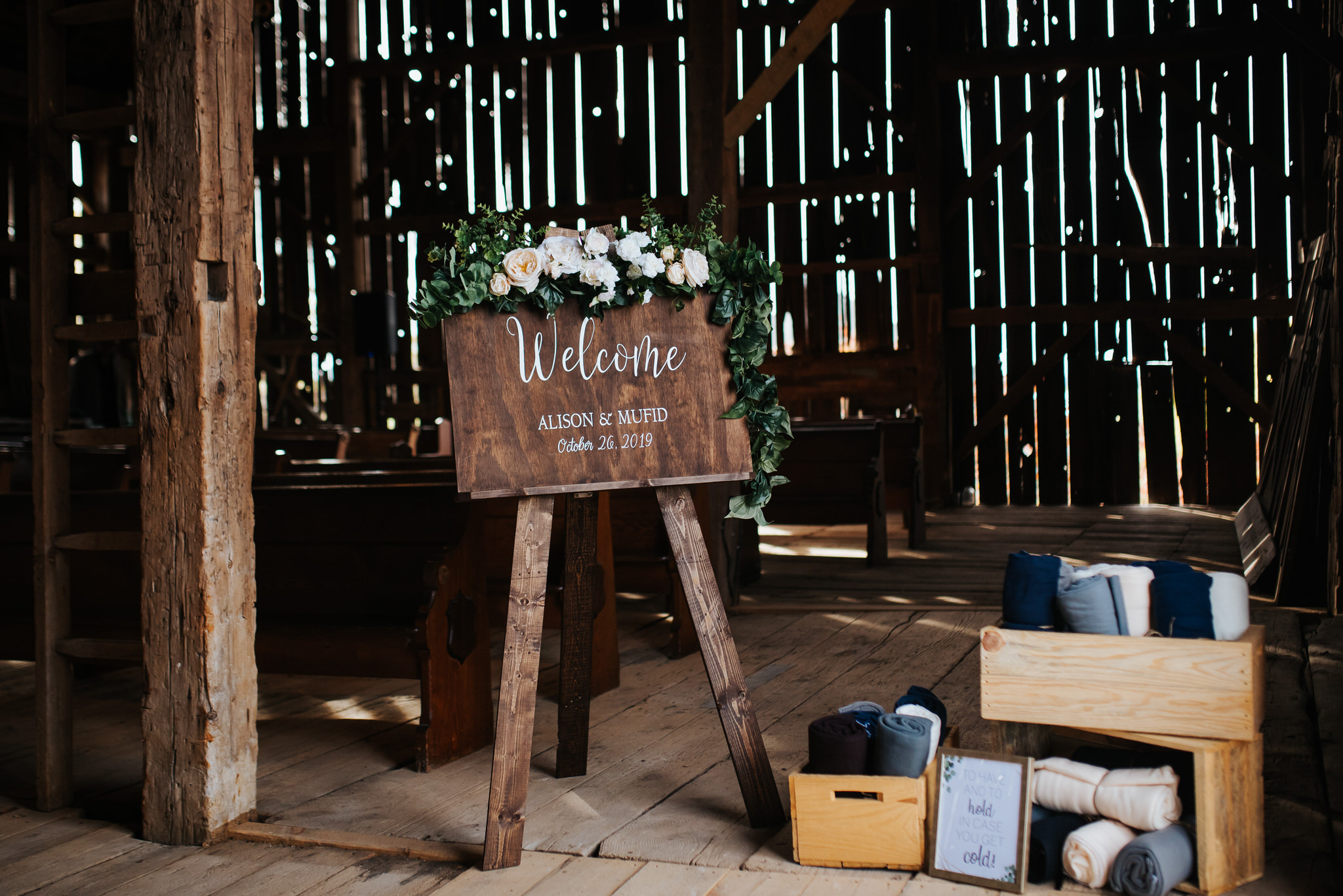 Waterstone Estate & Farms Wedding - welcome sign